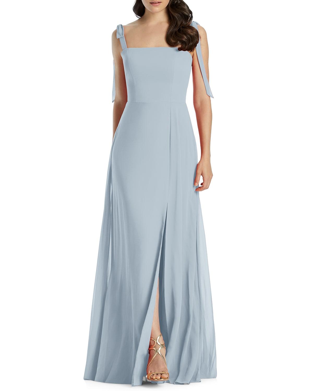 Square-Neck Tie-Strap A-Line Chiffon Dress