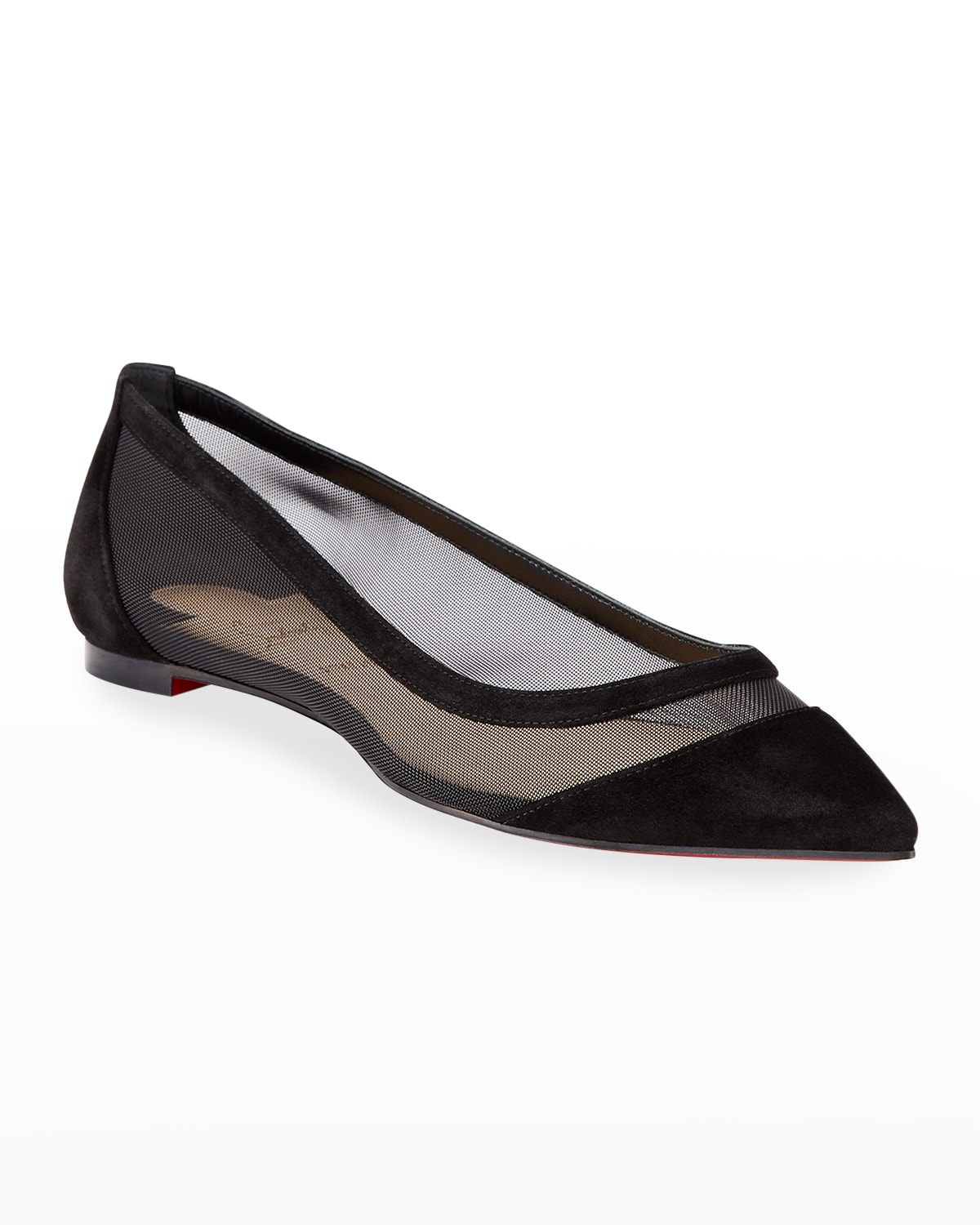 Galativi Mesh Pointed Red Sole Flats