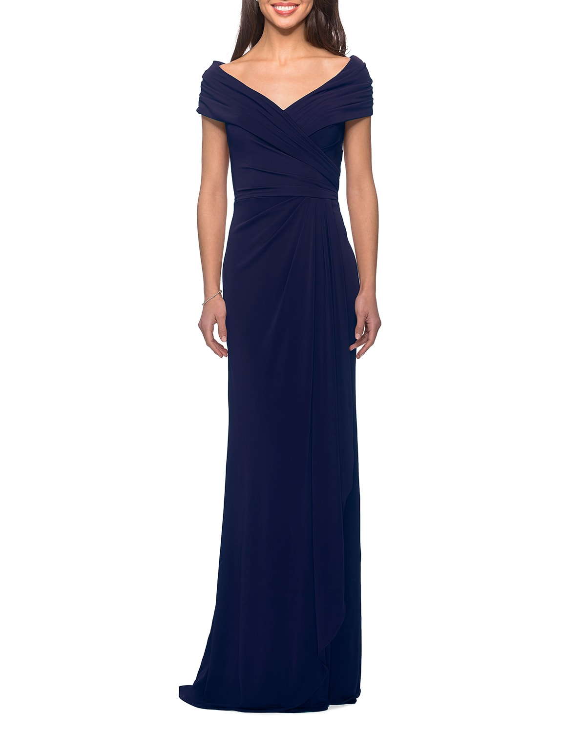 Short-Sleeve Ruched Jersey Gown Dress