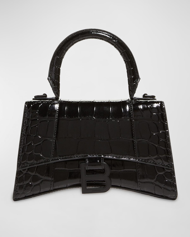 Hourglass XS Crocodile-Embossed Top Handle Bag