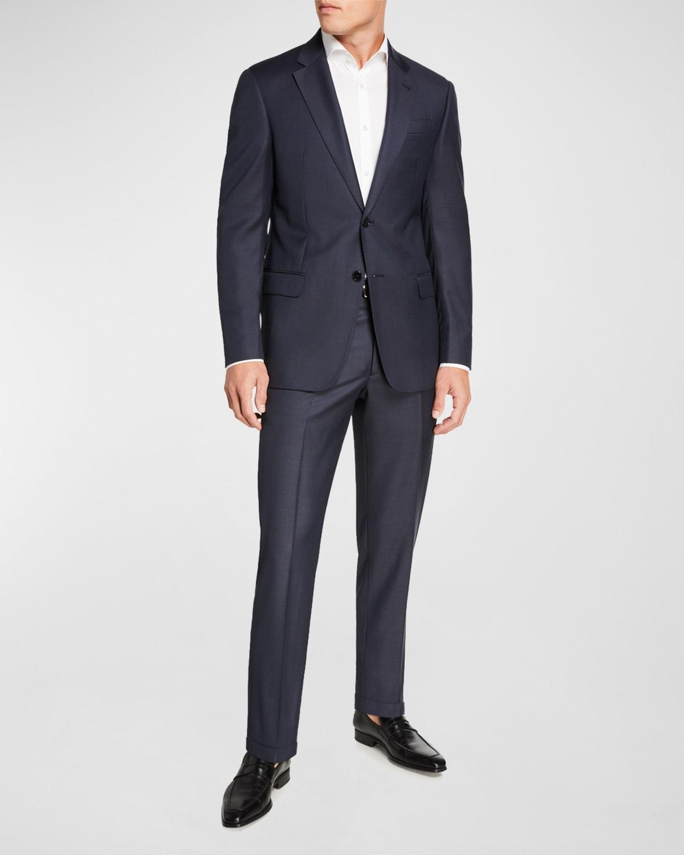Men's Sharkskin Two-Piece Wool Suit