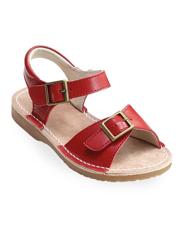 Olivia Leather Buckle Open-Toe Sandal