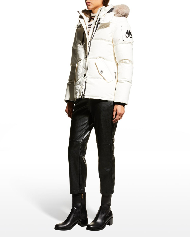 3Q Fox-Trim Detachable-Hood Puffer Coat