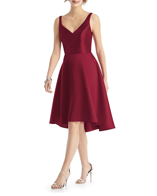 V-Neck Sleeveless Sateen Twill Cocktail Dress