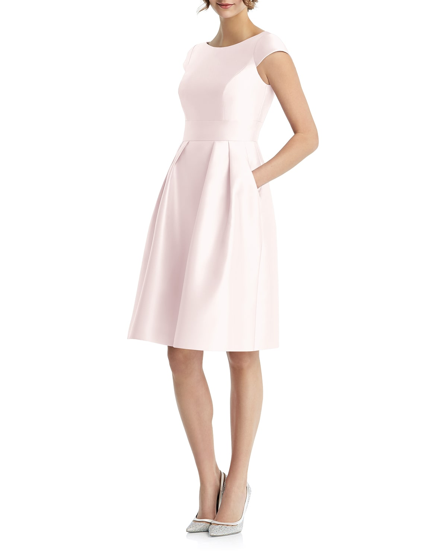 Bateau-Neck Cap-Sleeve Pleated Skirt Sateen Twill Dress w/ Pockets