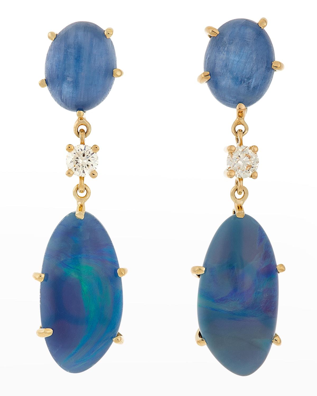 18k Bespoke 2-Tier One-of-a-Kind Luxury Earrings w/ Kyanite
