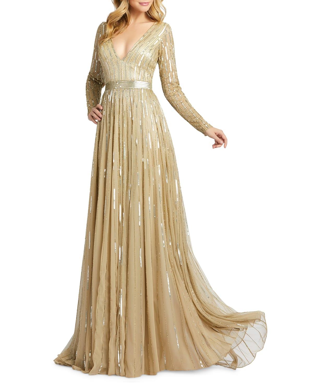 Vertical Sequin Long-Sleeve V-Neck Gown