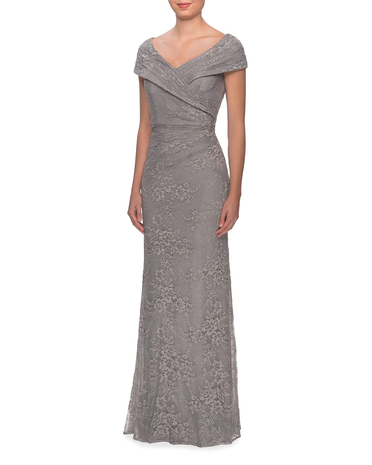 Off-the-Shoulder Ruched Lace Gown