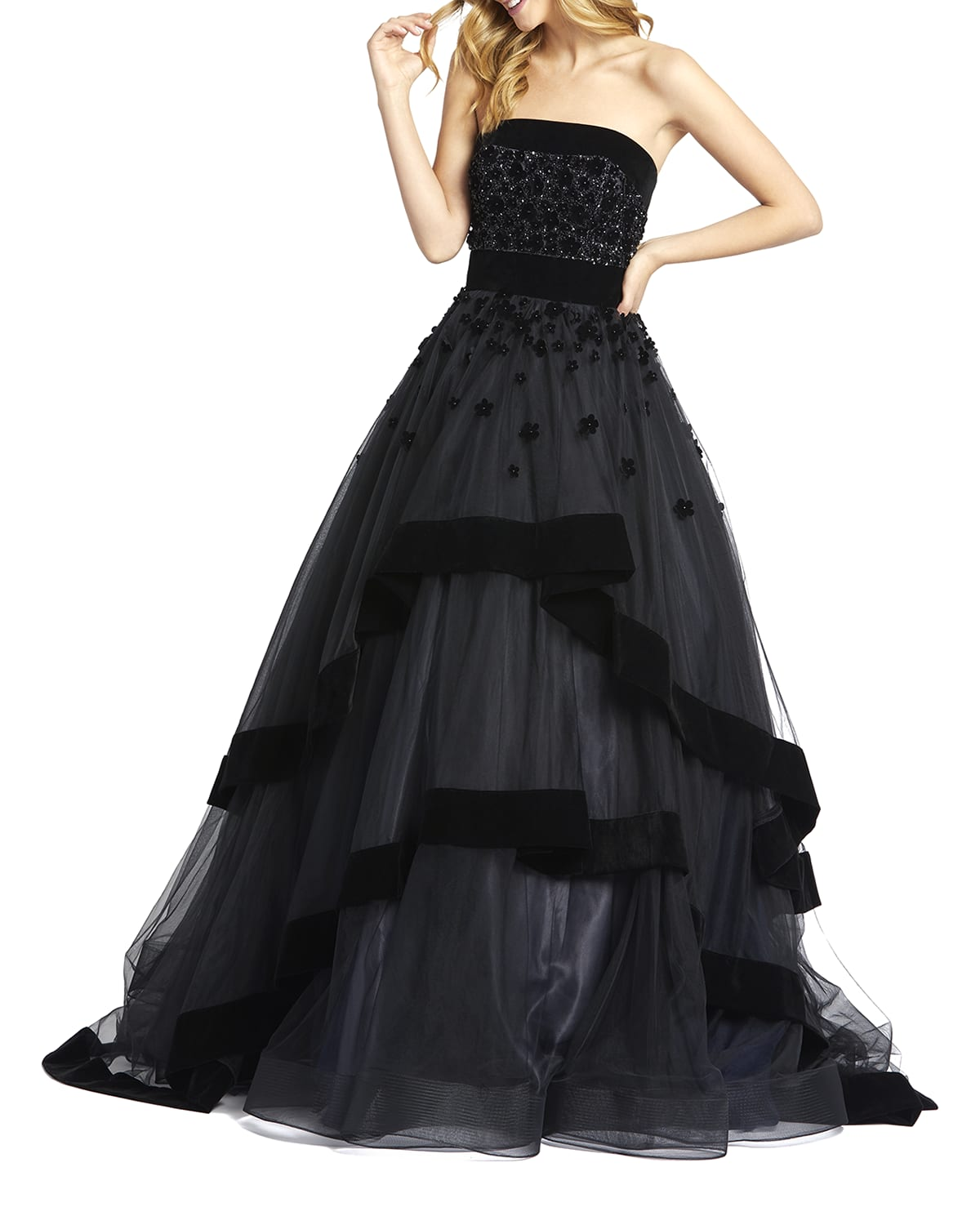 Strapless Tiered Gown with Velvet Trim & Floral Appliques
