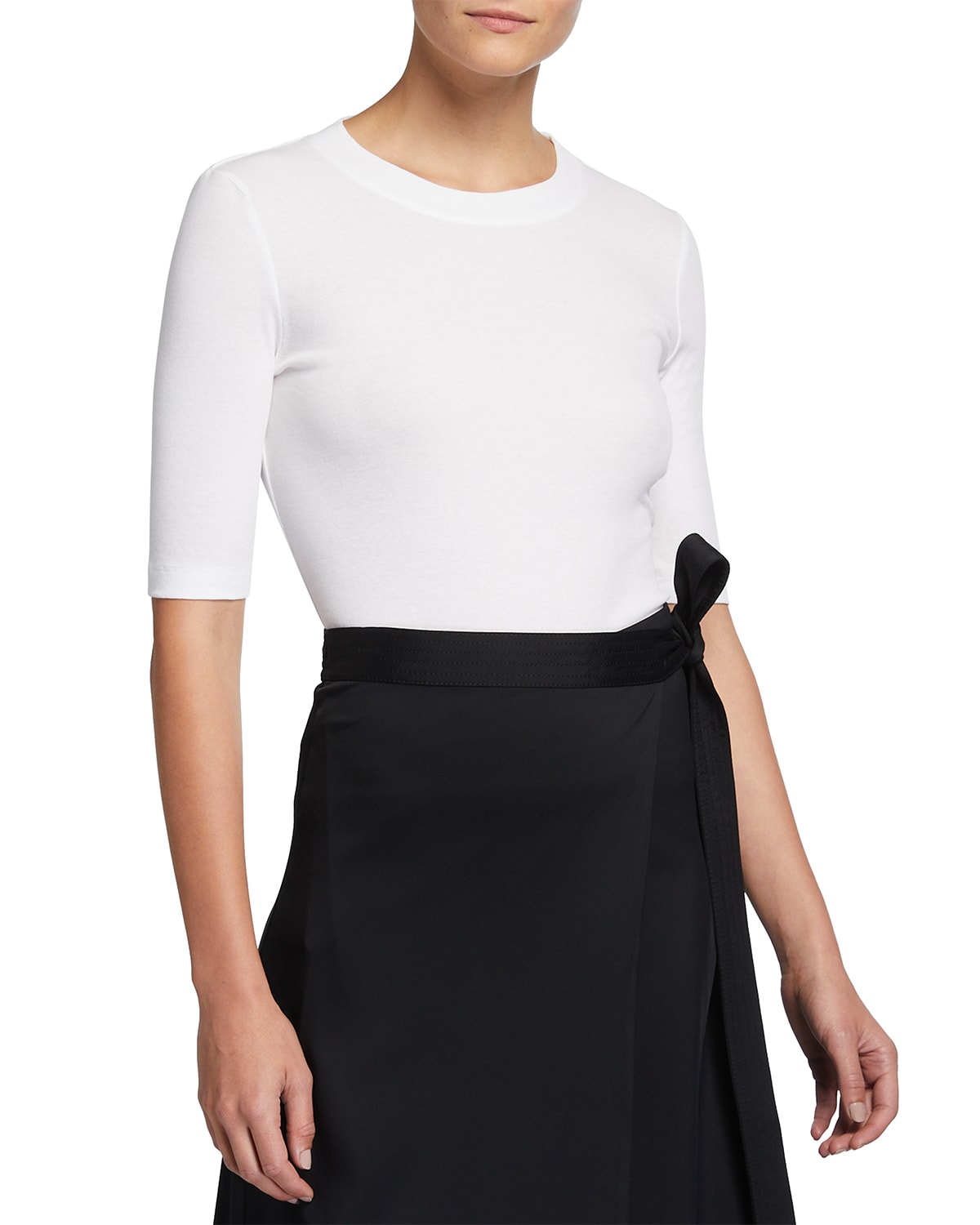 Cotton Cropped-Sleeve T-Shirt