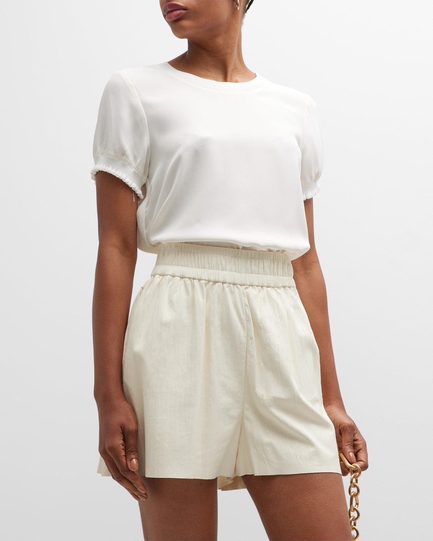 Lenny Crewneck Short-Sleeve Silk Top