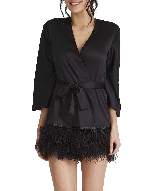 Swan Feather-Trim Robe