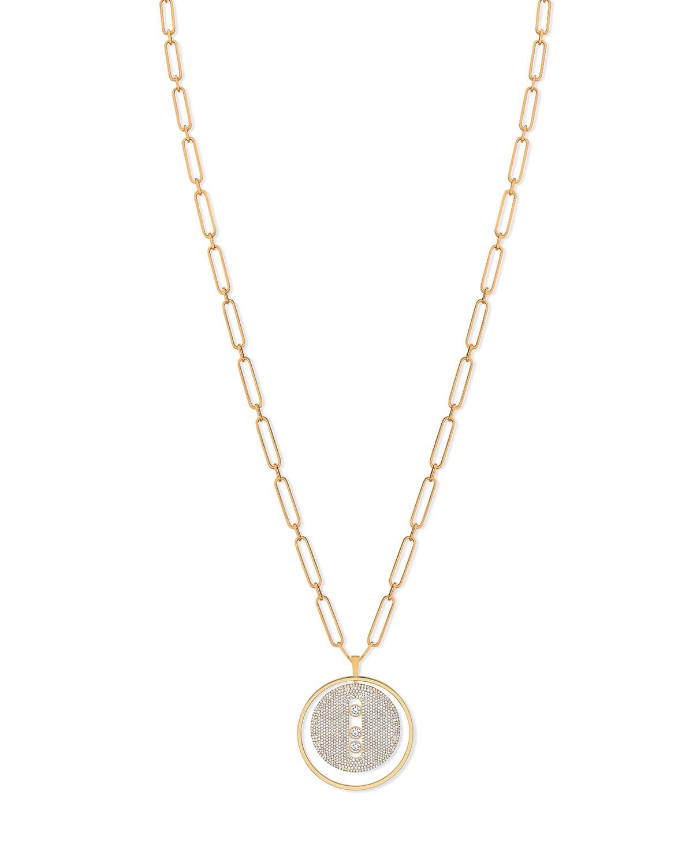 Lucky Move 18k Long Full Diamond Pave Necklace