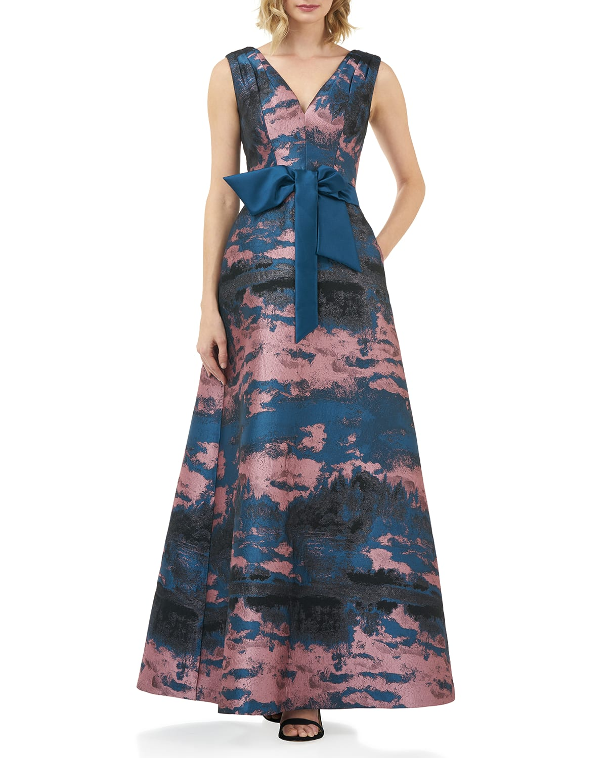 Valentin Abstract Jacquard V-Neck Sleeveless Gown w/ 3D Bow