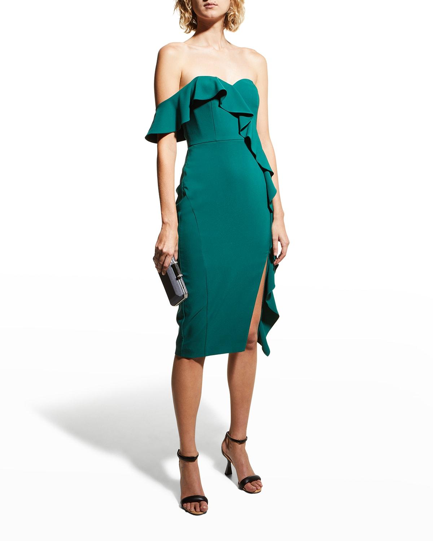 Asymmetric Ruffle One-Shoulder Crepe Dress