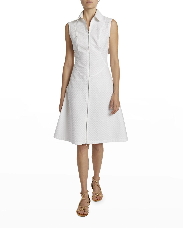 Sleeveless Cotton Zip-Front Shirtdress