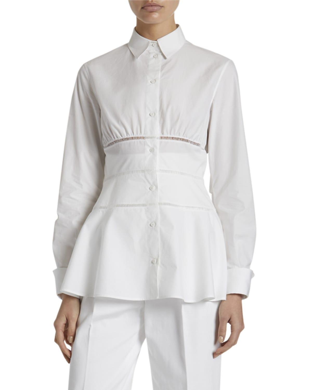 Poplin Peplum Button-Front Shirt