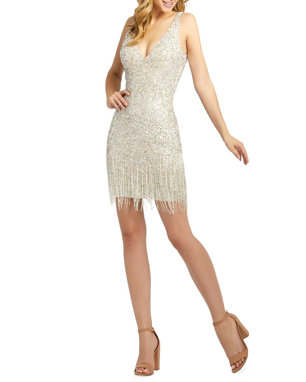 Sequin & Bugle Beaded Fringe Short Dress