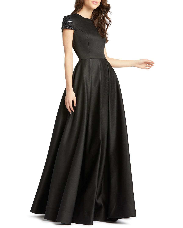 Beaded Cap-Sleeve A-Line Satin Gown