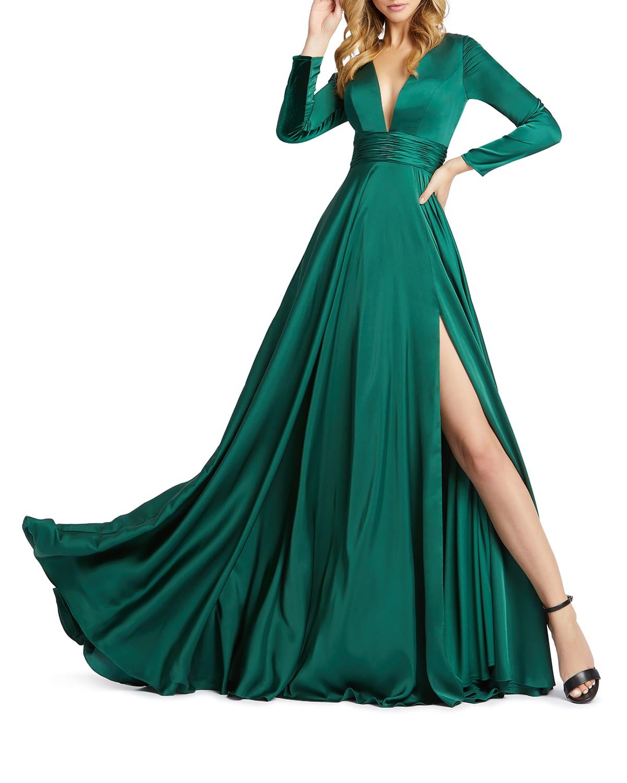 V-Neck Long-Sleeve Satin Thigh-Slit Gown