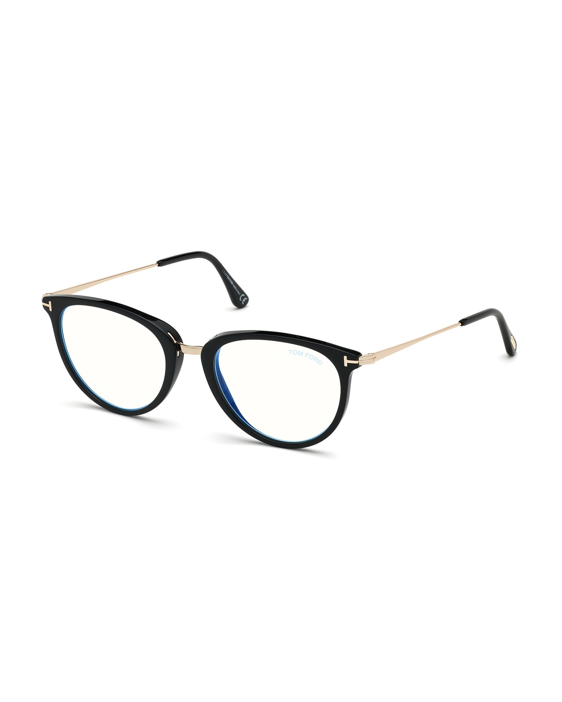 Blue Block Cat-Eye Acetate & Metal Optical Frames