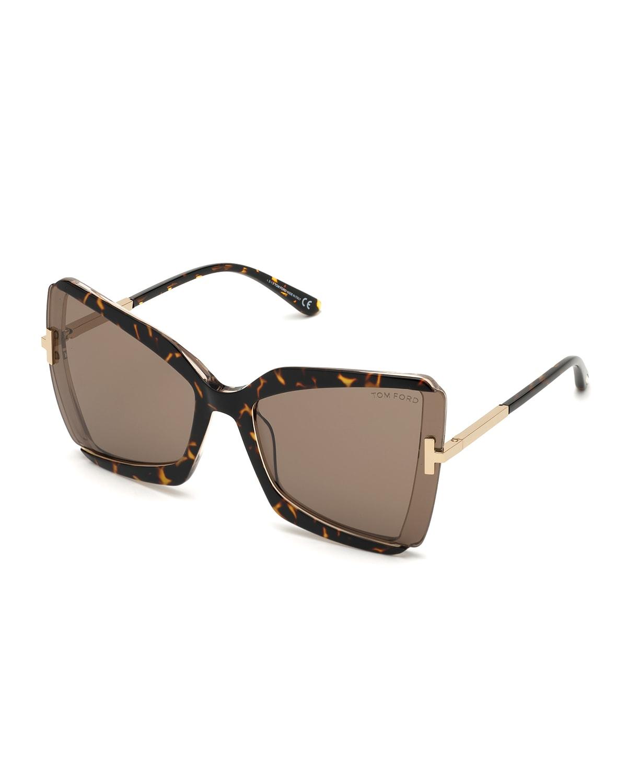 Gia Semi-Rimless Butterfly Sunglasses