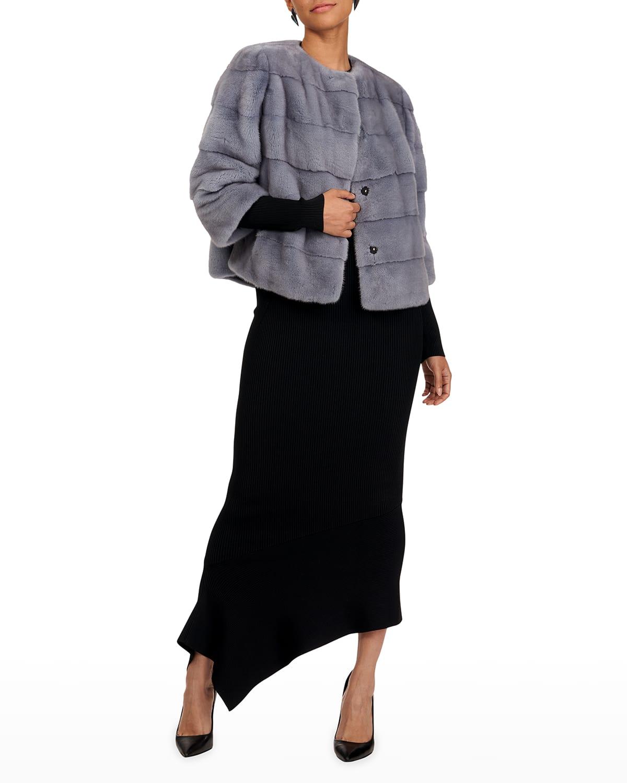 3/4-Sleeve Fur Jacket