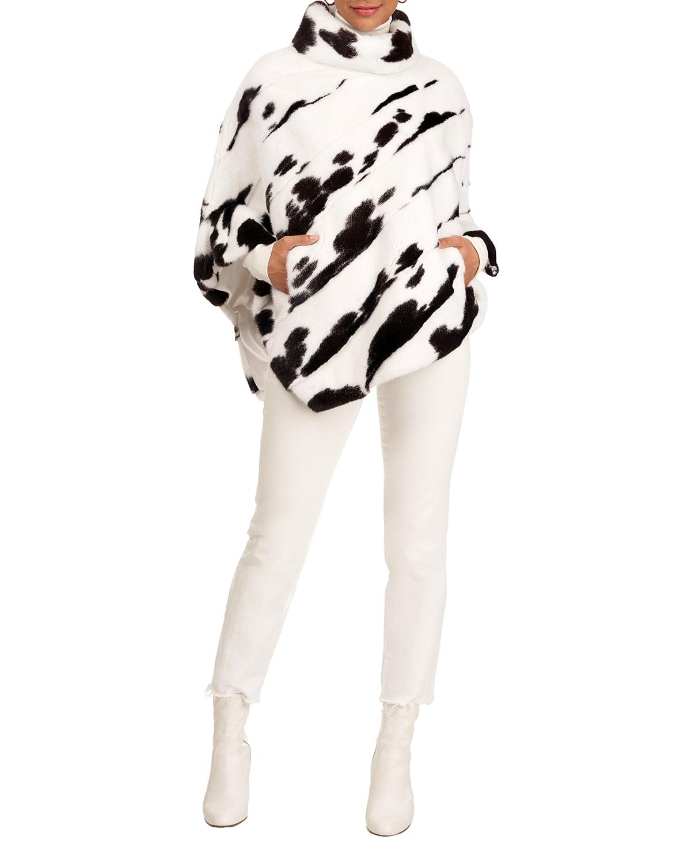 Mink Fur Diagonal Poncho