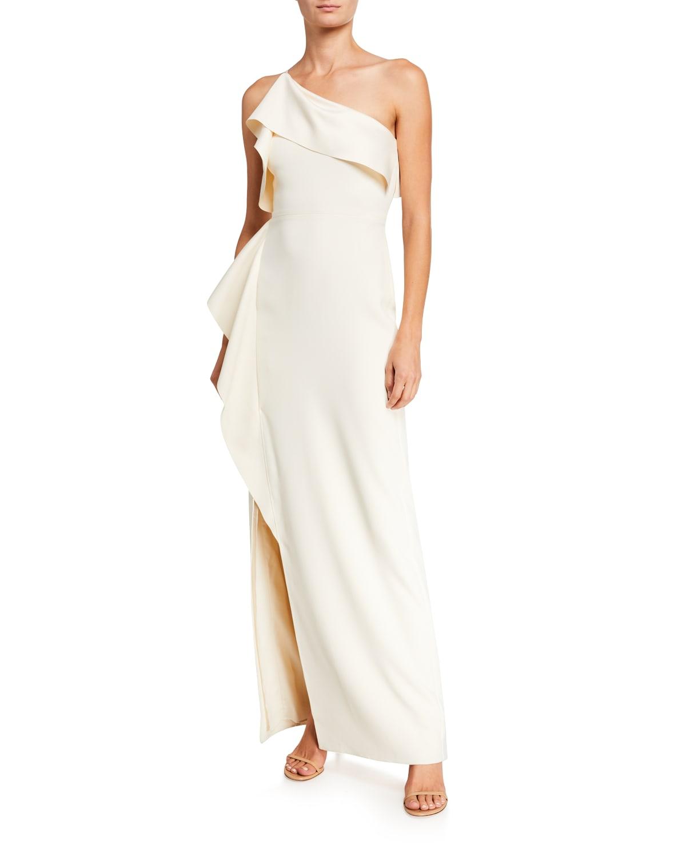 One-Shoulder Satin Drape Gown