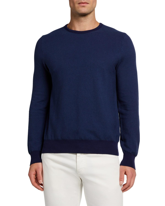 Men's Solid Rice-Weave Crewneck Sweater