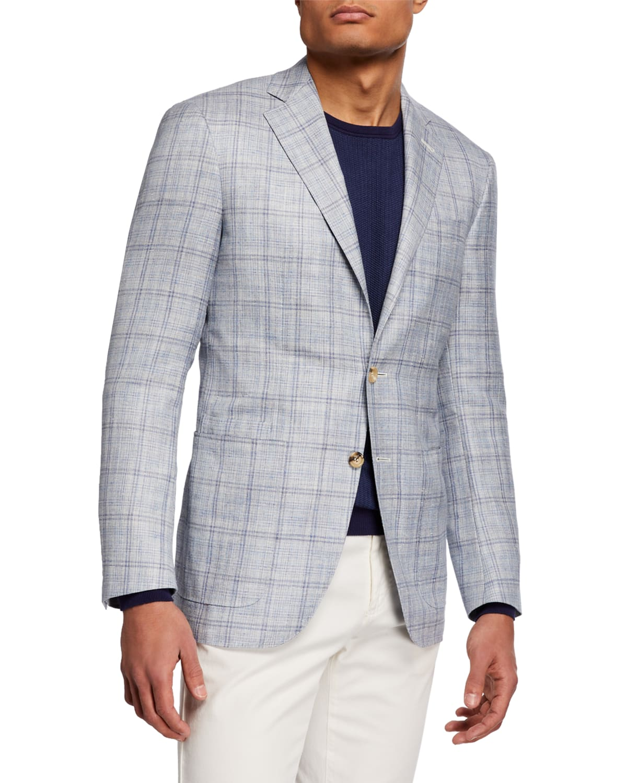 Men's Wool/Silk/Linen Windowpane Blazer