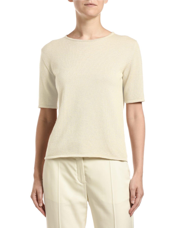 Cashmere Shimmer Short-Sleeve Sweater