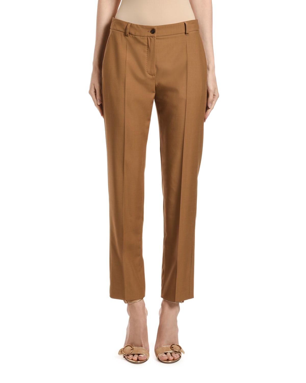 Wool Straight-Leg Crop Pants
