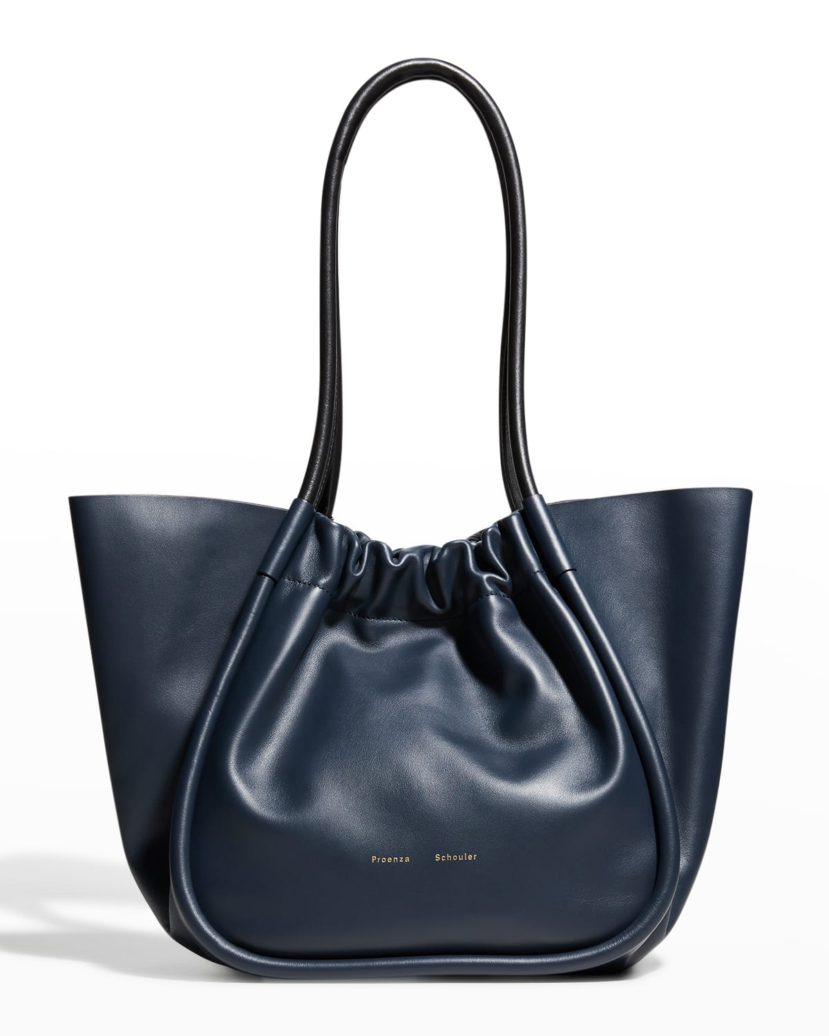 Large Ruched Smooth Leather Tote Bag