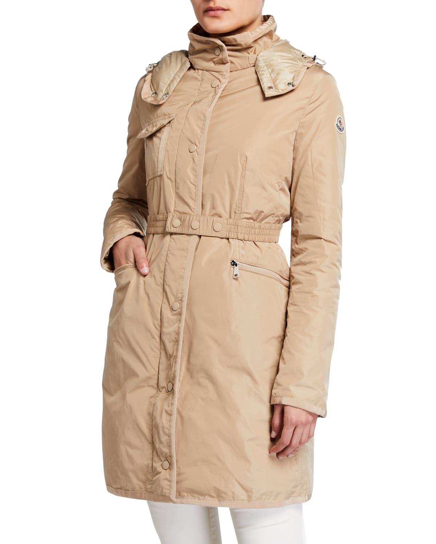 Mauve Removable-Belt Rain Coat