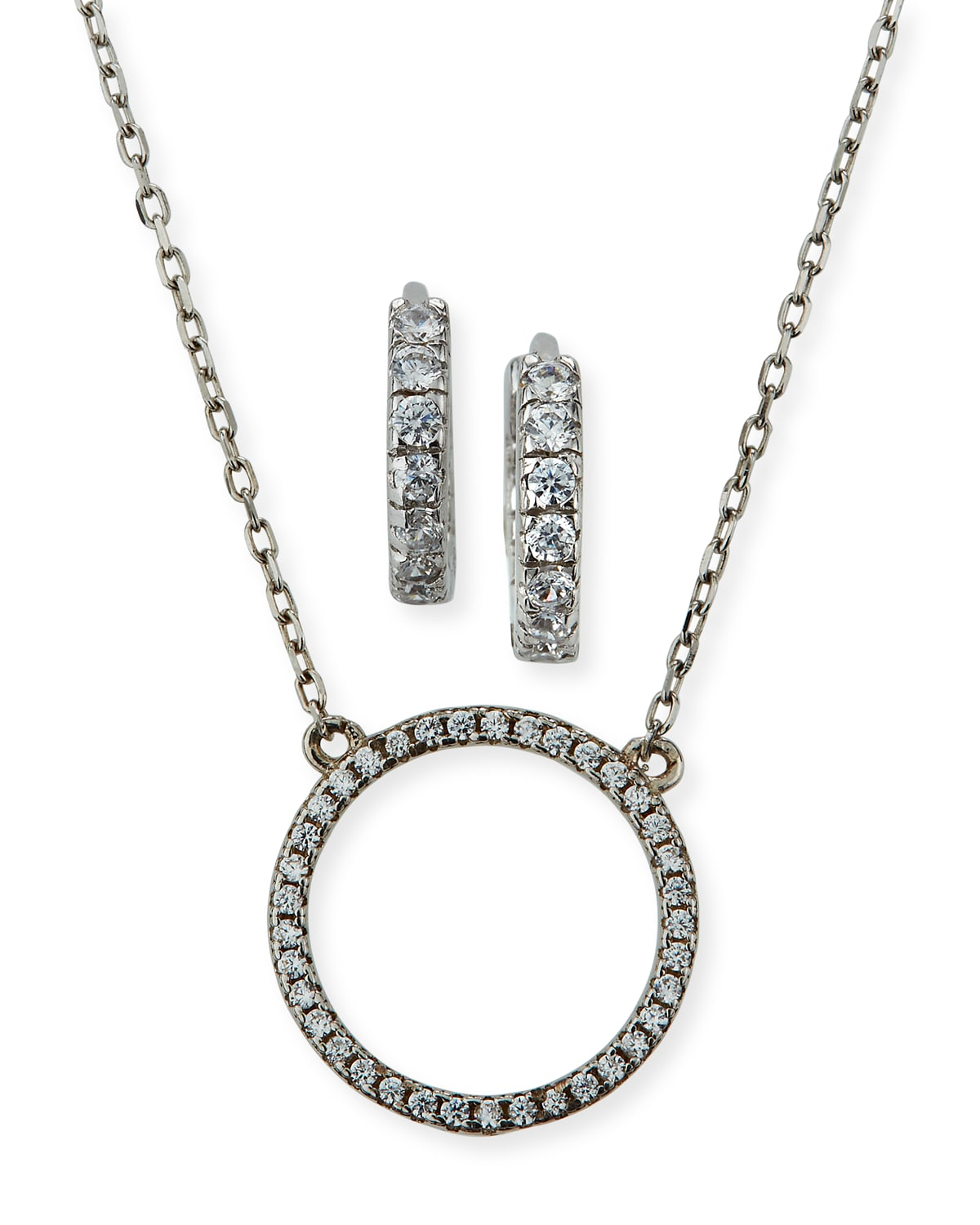 Girl's Sterling Silver Cubic Zirconia Circle Necklace w/ Matching Hoop Earrings Set