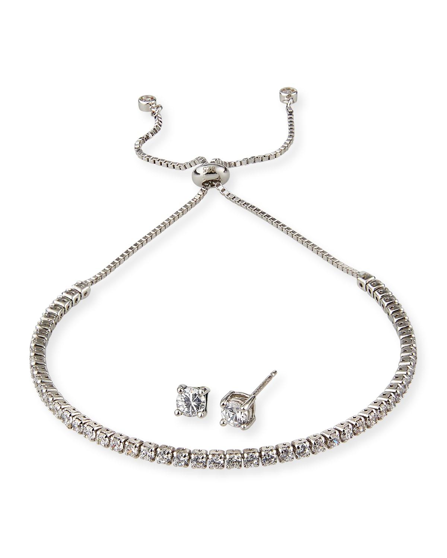Girl's Sterling Silver Cubic Zirconia Adjustable Bracelet w/ Matching Stud Earrings Set