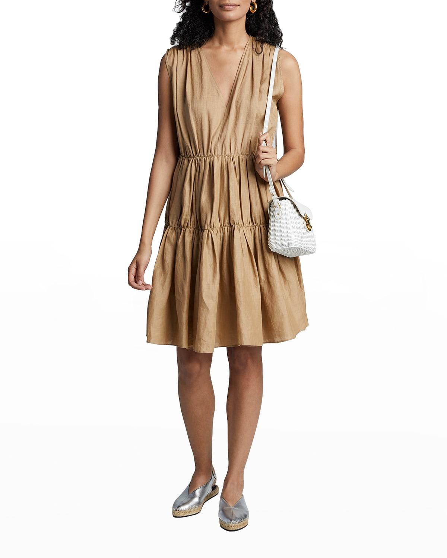 Lema Sleeveless Tiered Ramie Voile Dress