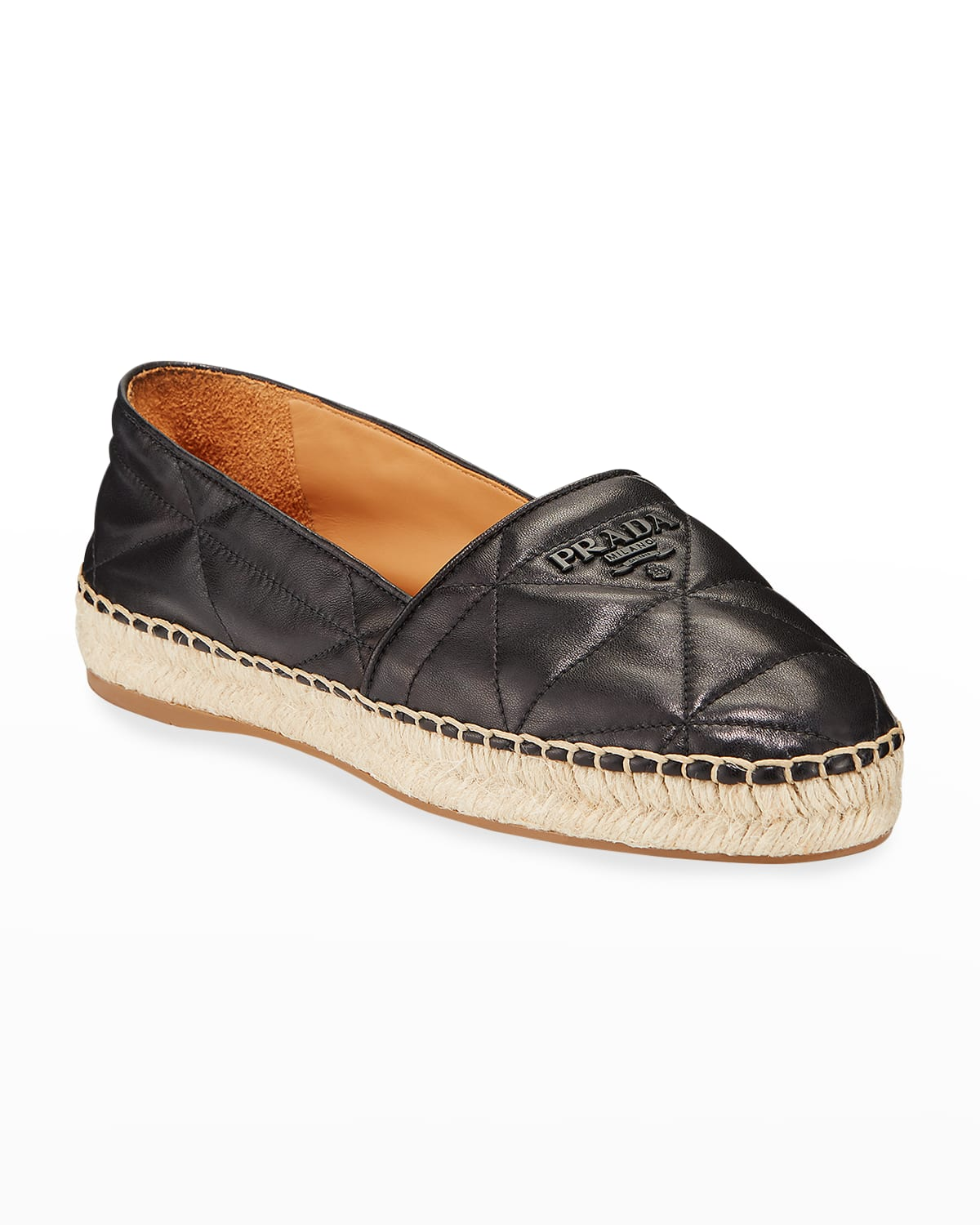 Flat Quilted Leather Espadrilles