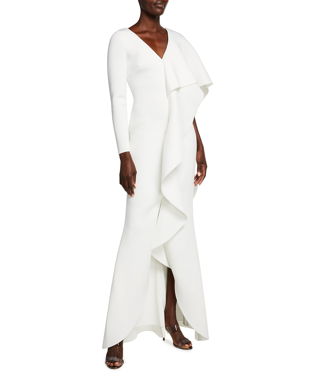 V-Neck Long-Sleeve Asymmetric Ruffle Cape Shoulder Gown