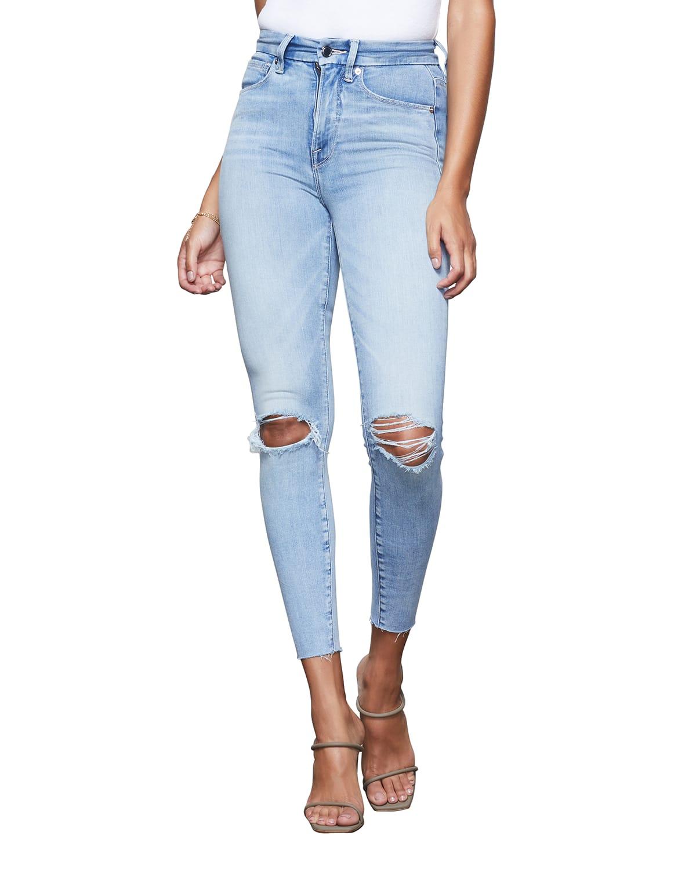 Good Waist Crop Ripped Skinny Jeans w/ Frayed Hem