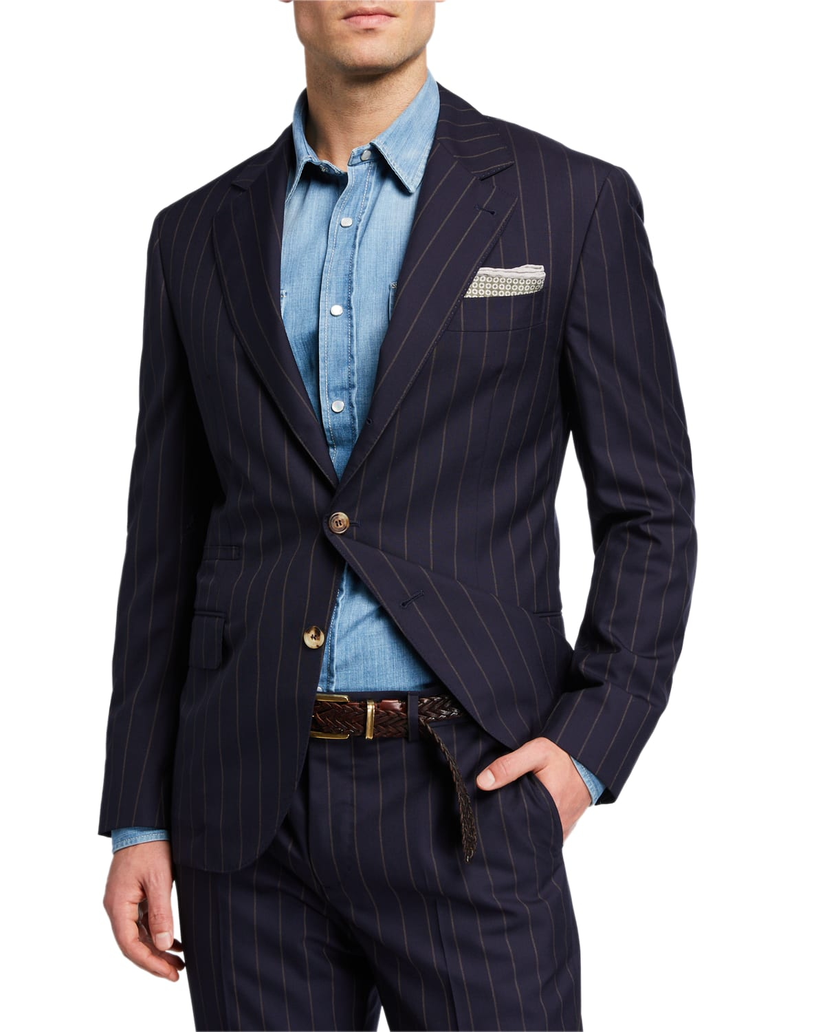 Men's Two-Piece Pinstriped Wool Suit