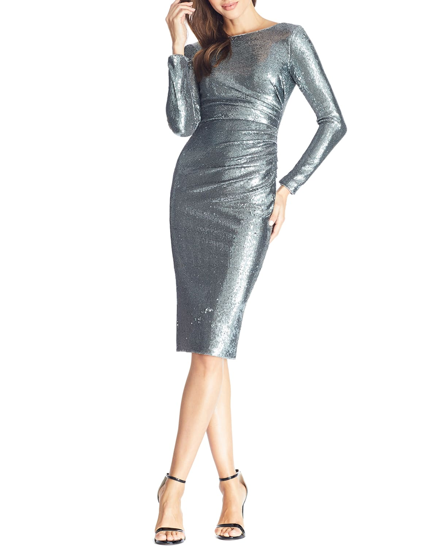 Emilia Sequin Long-Sleeve Ruched Dress