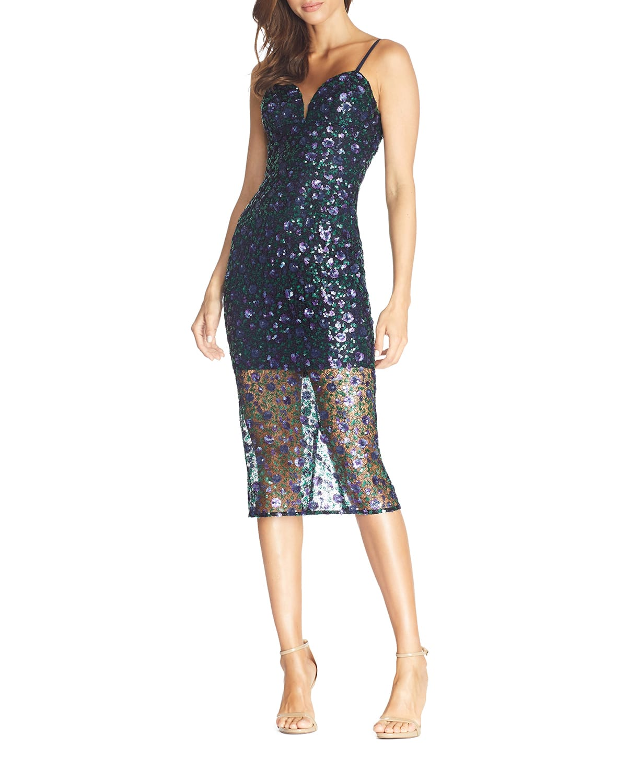 Addison Sequined Spaghetti-Strap Illusion Dress