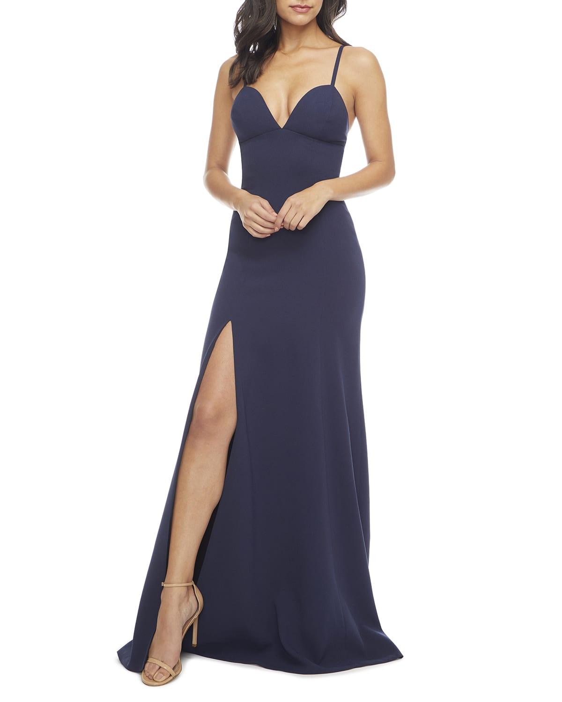 Alejandra Sweetheart Sleeveless Long Dress w/ Slit