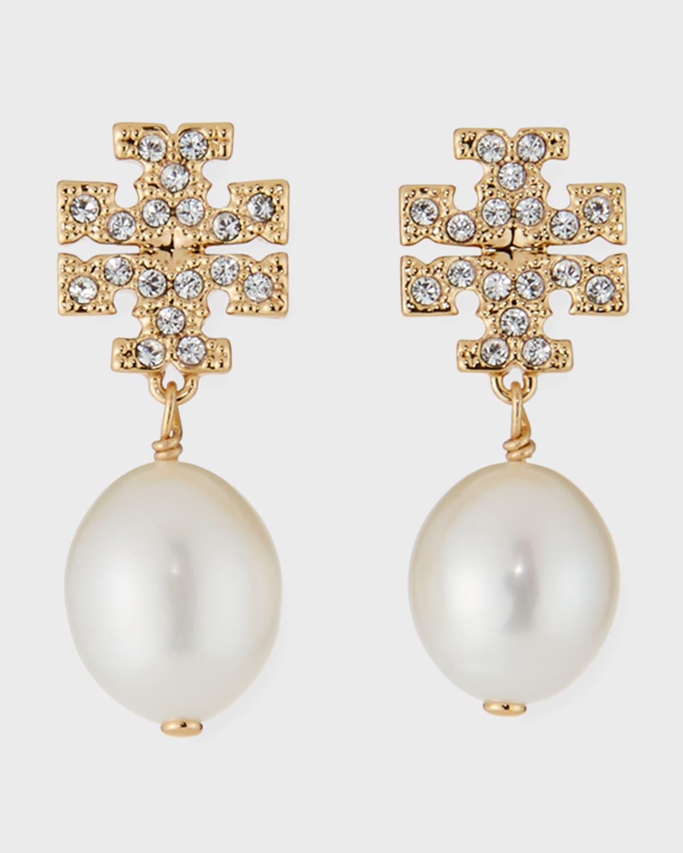 Kira Pave Pearl-Drop Earrings