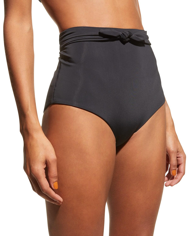 Jay High-Waist Tie-Front Bikini Bottoms