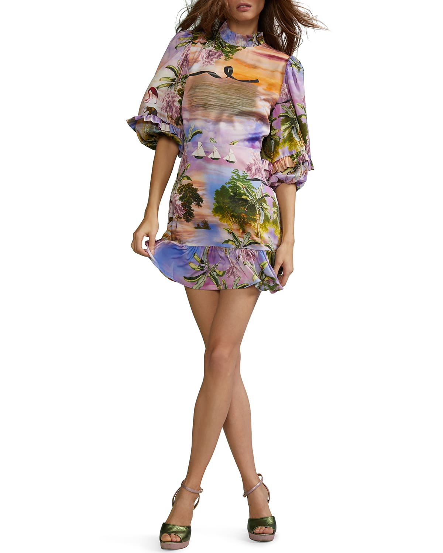 Catalina Mock-Neck Mini Ruffle Dress