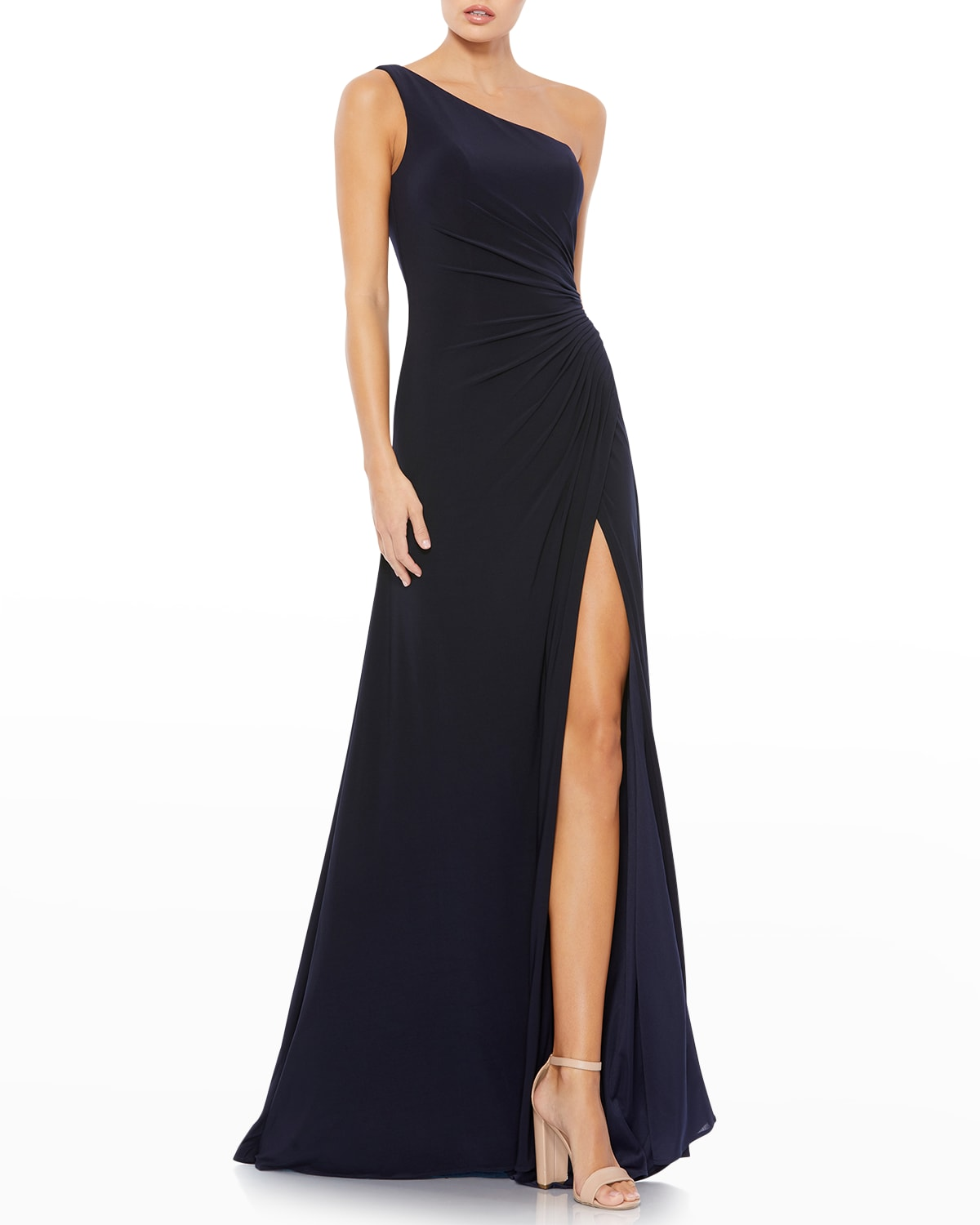 One-Shoulder Jersey Wrap Gown