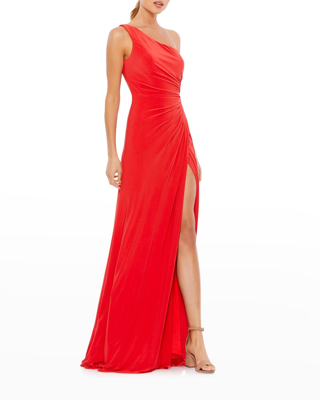 Ieena For Mac Duggal One-shoulder Jersey Wrap Gown In Cherry